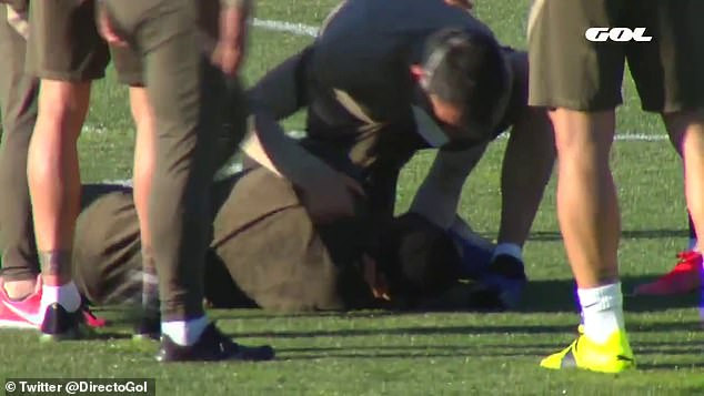 Atletico Madrid striker, Moussa Dembele collapses in training (Photos/Video)
