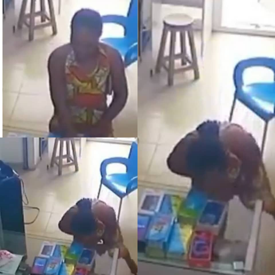 "CCTV captures moment an ""overly friendly"" lady stole a phone from a shop in Port Harcourt"
