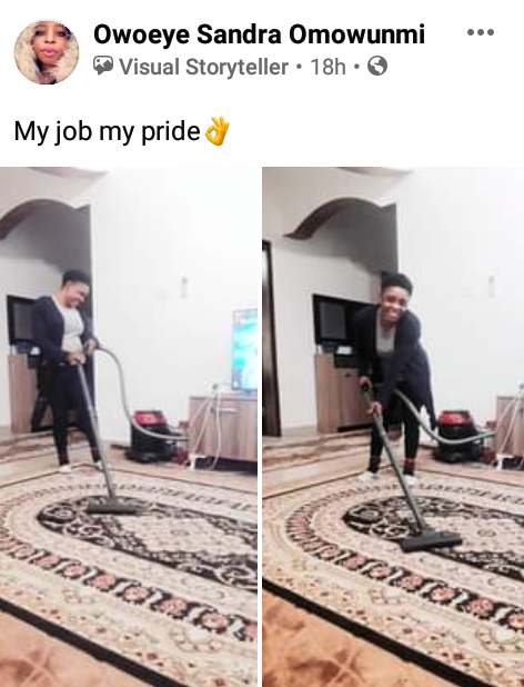 """My job, my pride"" - Nigerian lady says as she shares photos of herself cleaning her Arab employer"