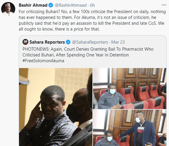 Bashir Ahmad denies report a Nigerian pharmacist is being tried for criticizing President Buhari