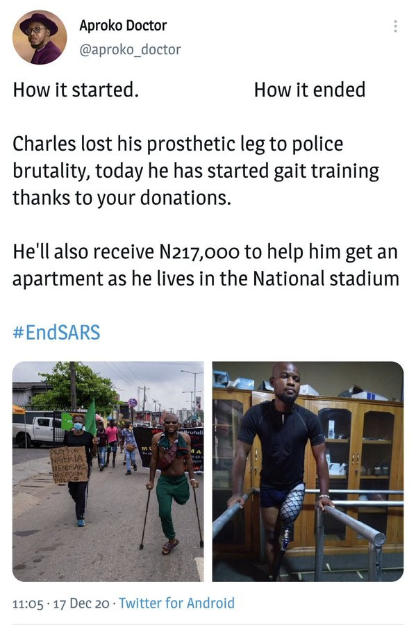 #EndSARS: Popular Twitter user, Aproko Doctor reacts after lawyer to man he and others promised to buy a prosthetic leg for accuses him of not fulfilling his promise