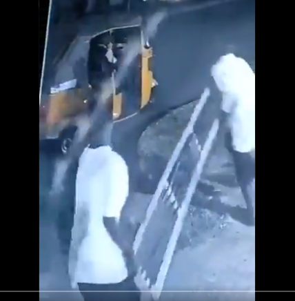 CCTV footage shows moment two men stole metal manhole covers (video)