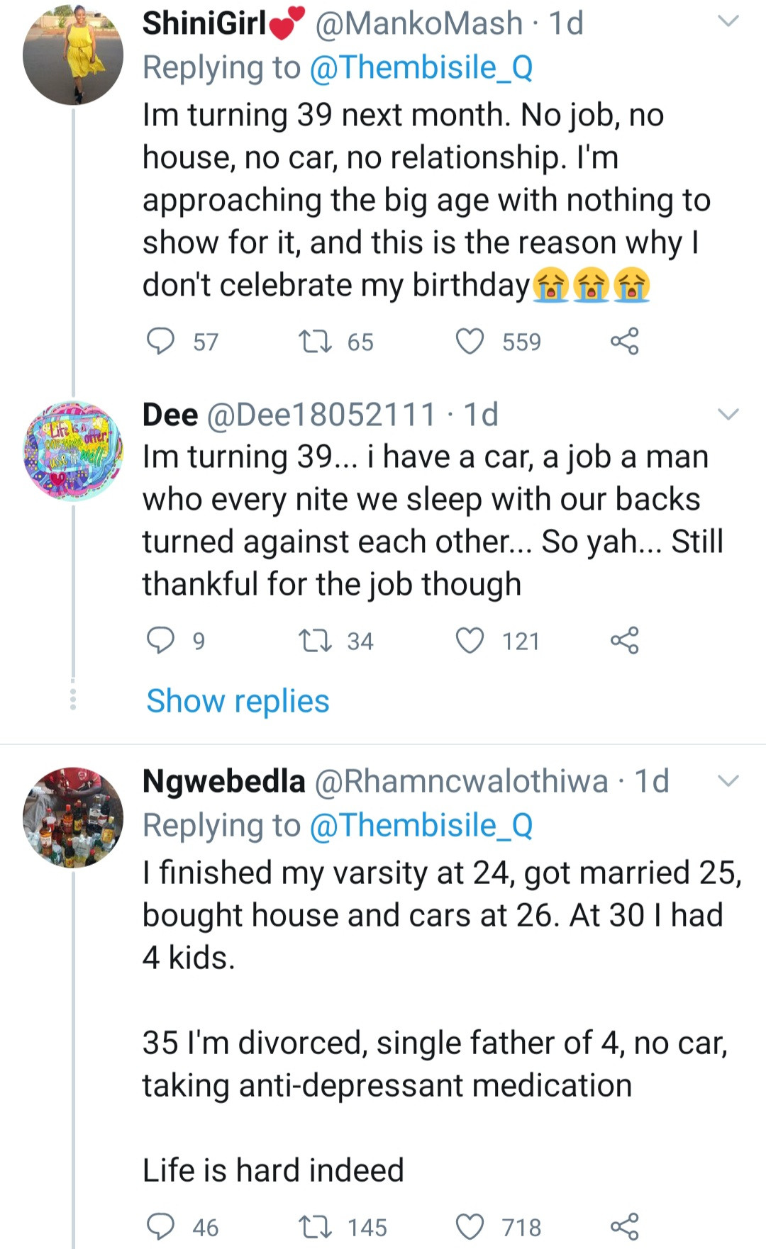 Twitter users reveal how hard life has been for them