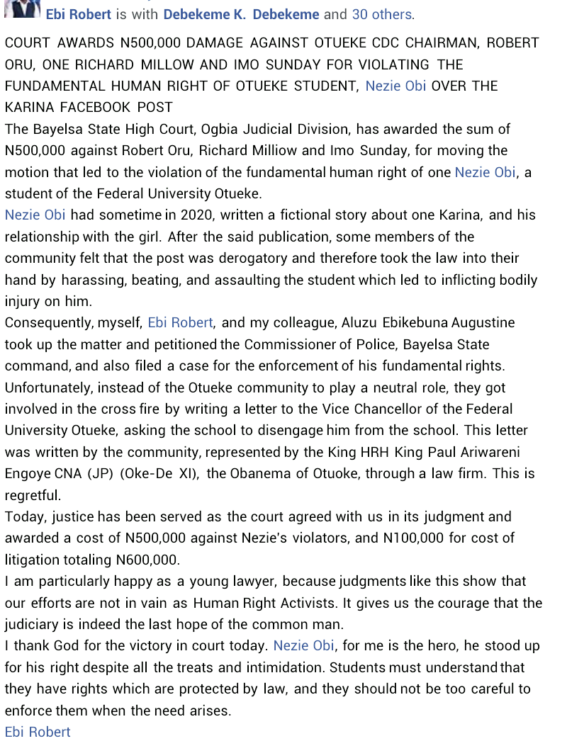 Court awards N600,000 damage against Bayelsa community chairman, two others for assaulting university student