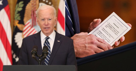 Joe Biden, 78, accidentally reveals cheat sheets and prompts he used to navigate his first press conference (photos)