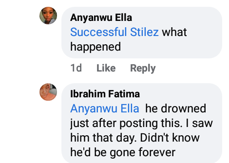 Young Nigerian man drowns a day after he shared a Facebook post about death