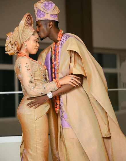 Actress Yetunde Barnabas and Footballer Peter Olayinka hold their wedding introduction