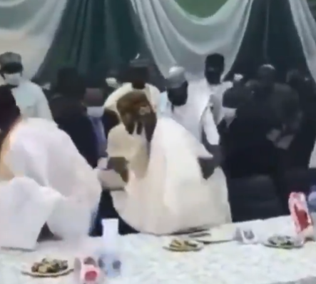 Video: Watch the moment APC National leader, Bola Tinubu, almost fell after missing his step at a function in Kaduna