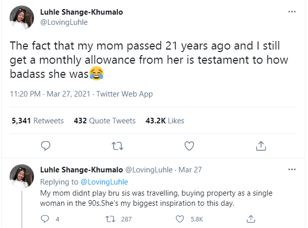 Twitter user reveals that she still receives monthly allowance from her mom who died 21 years ago