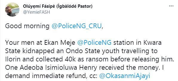 Policemen accused of allegedly kidnapping traveler and forcing him to pay a N40k ransom