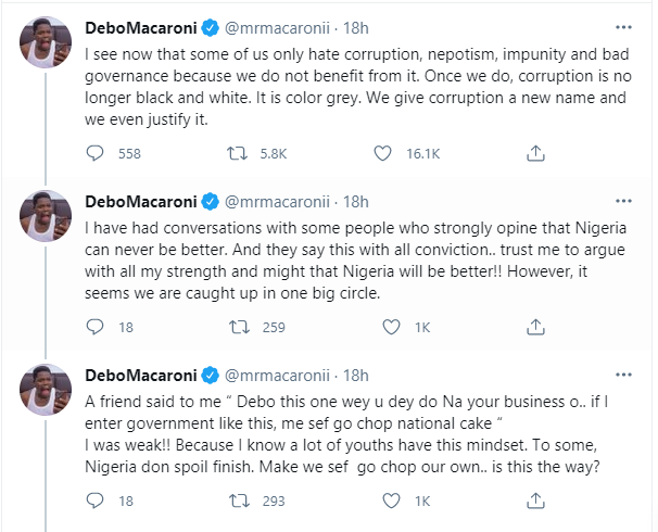 Some of us only hate corruption, nepotism, impunity and bad governance because we do not benefit from it - Comedian, Mr Macaroni