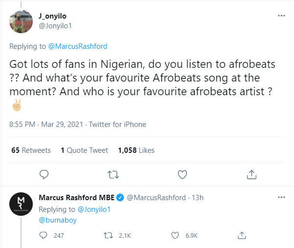 Manchester United striker, Marcus Rashford says Burna Boy is his favourite Afrobeat singer?