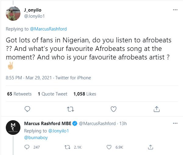 Manchester United striker, Marcus Rashford says Burna Boy is his favourite Afrobeat singer?