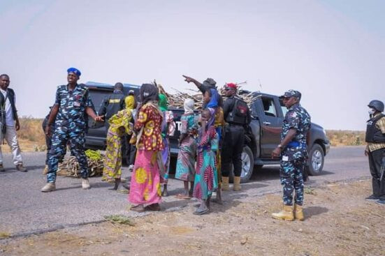 Governor Zulum stops his convoy to help women gathering firewood (photos)