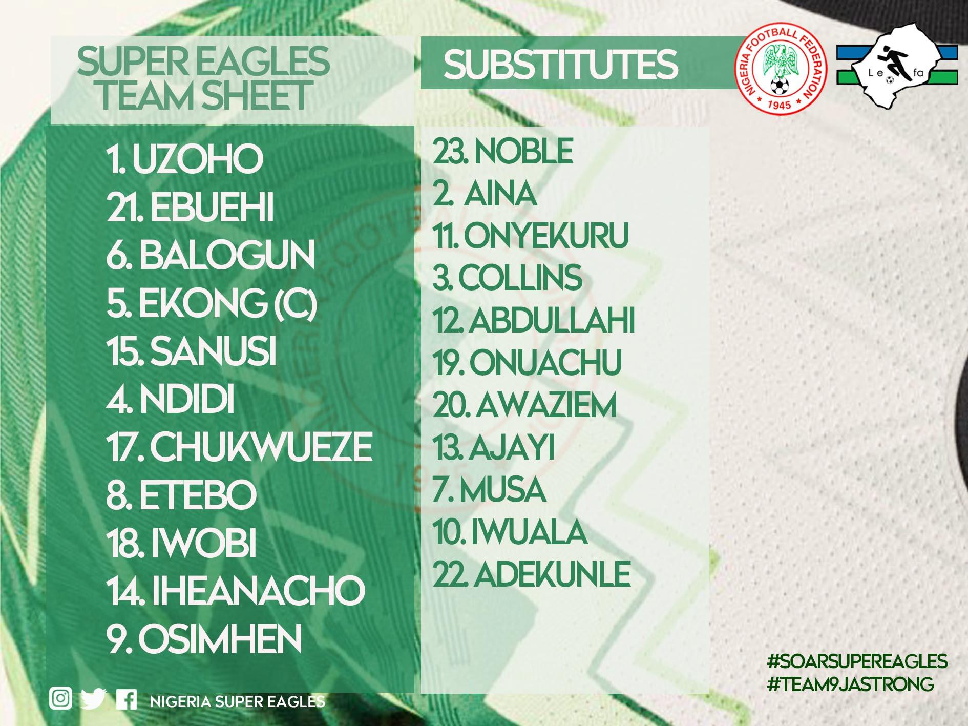 Super Eagles starting XI vs Lesotho revealed