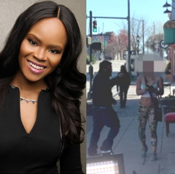 Police search for woman who spat on Nigerian presenter, Adaure Achumba while she was on Elm Street in North Carolina to report for WFMY News