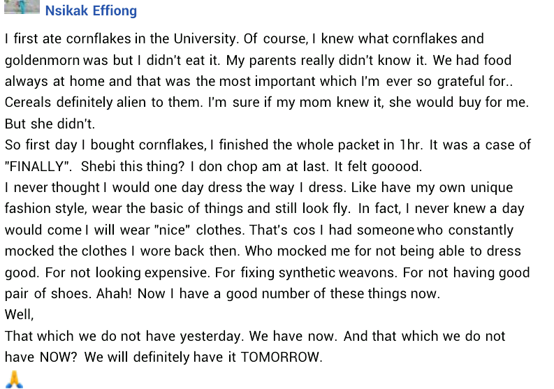 """""""I first ate cornflakes in the University"""" - Nigerian lady narrates how she was mocked for not having nice clothes, shoes and fixing synthetic weavons"""