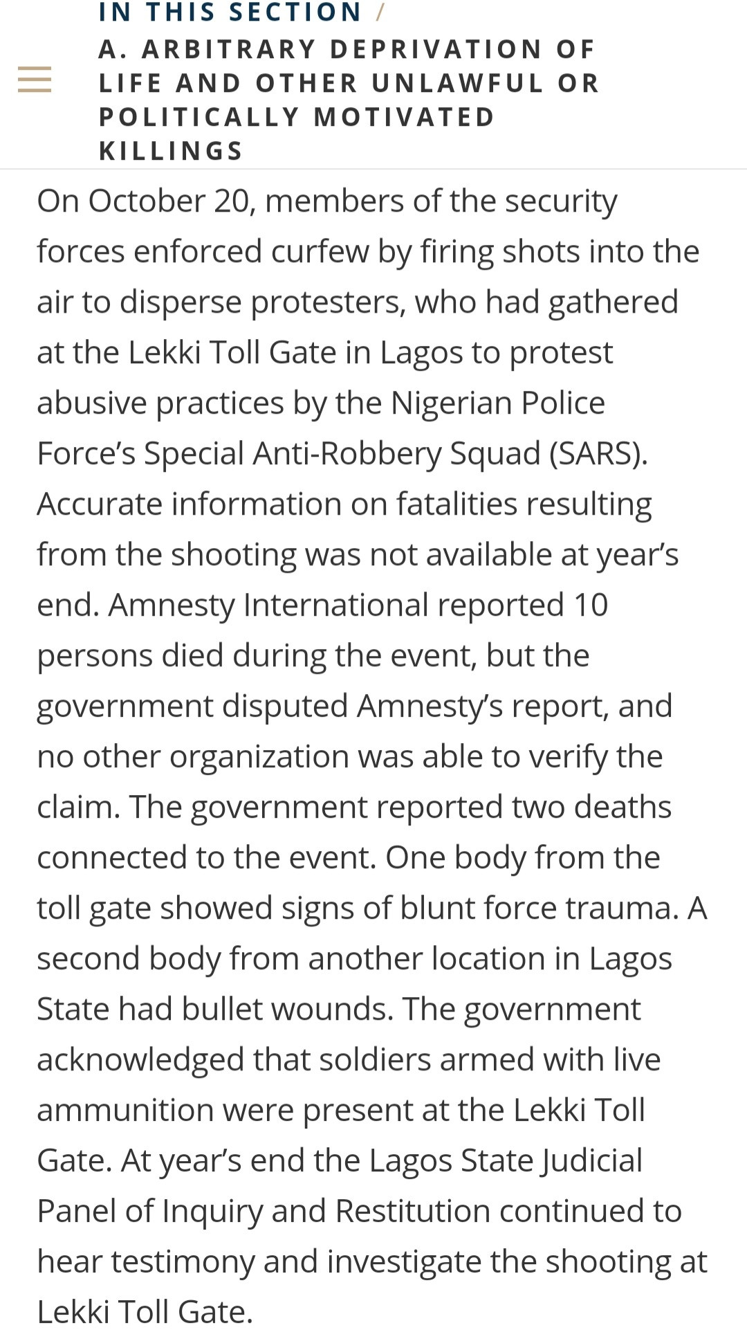 Claims soldiers killed protesters at Lekki Toll Gate not verified - US report