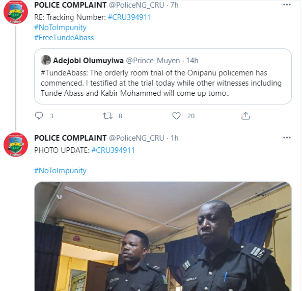 Lagos police command begin orderly trial of police officers who arrested and detained activist, Tunde Abass, for filming them while harassing a man (photo)