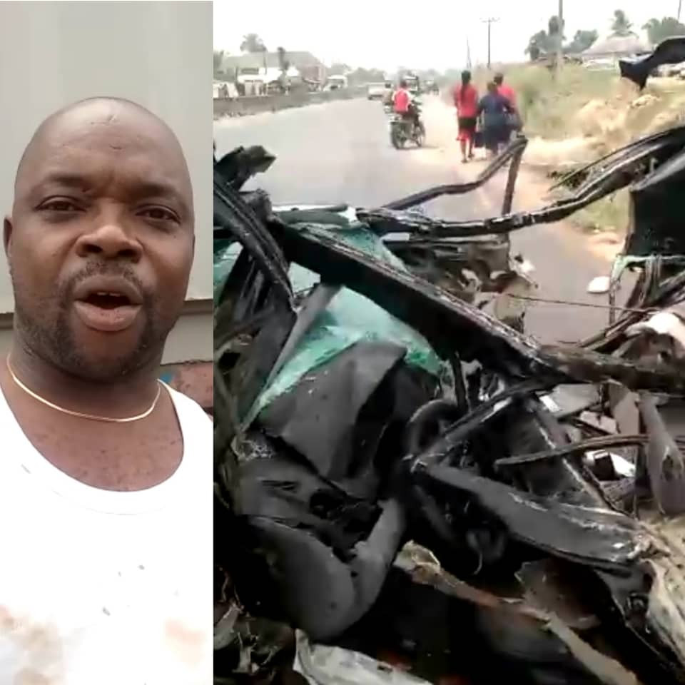 Man thanks God after surviving a ghastly accident along Okija Road in Anambra state (video)