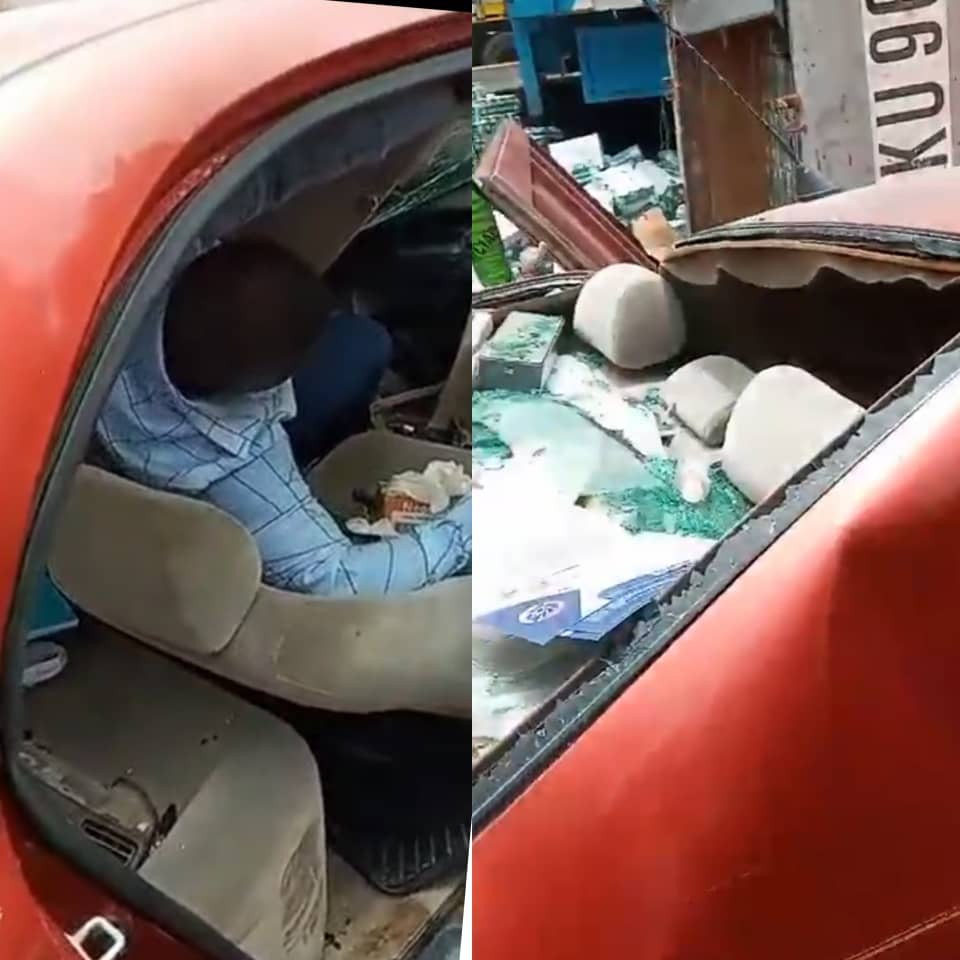 Man rescued alive after being trapped under a container for more than two hours in Lagos