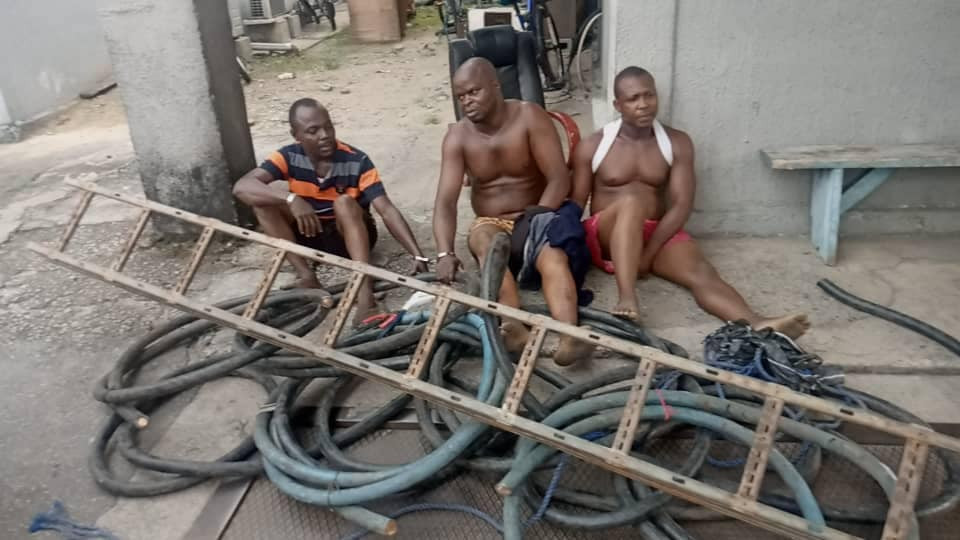 Three security guards caught vandalising armoured cables at Warri Refinery