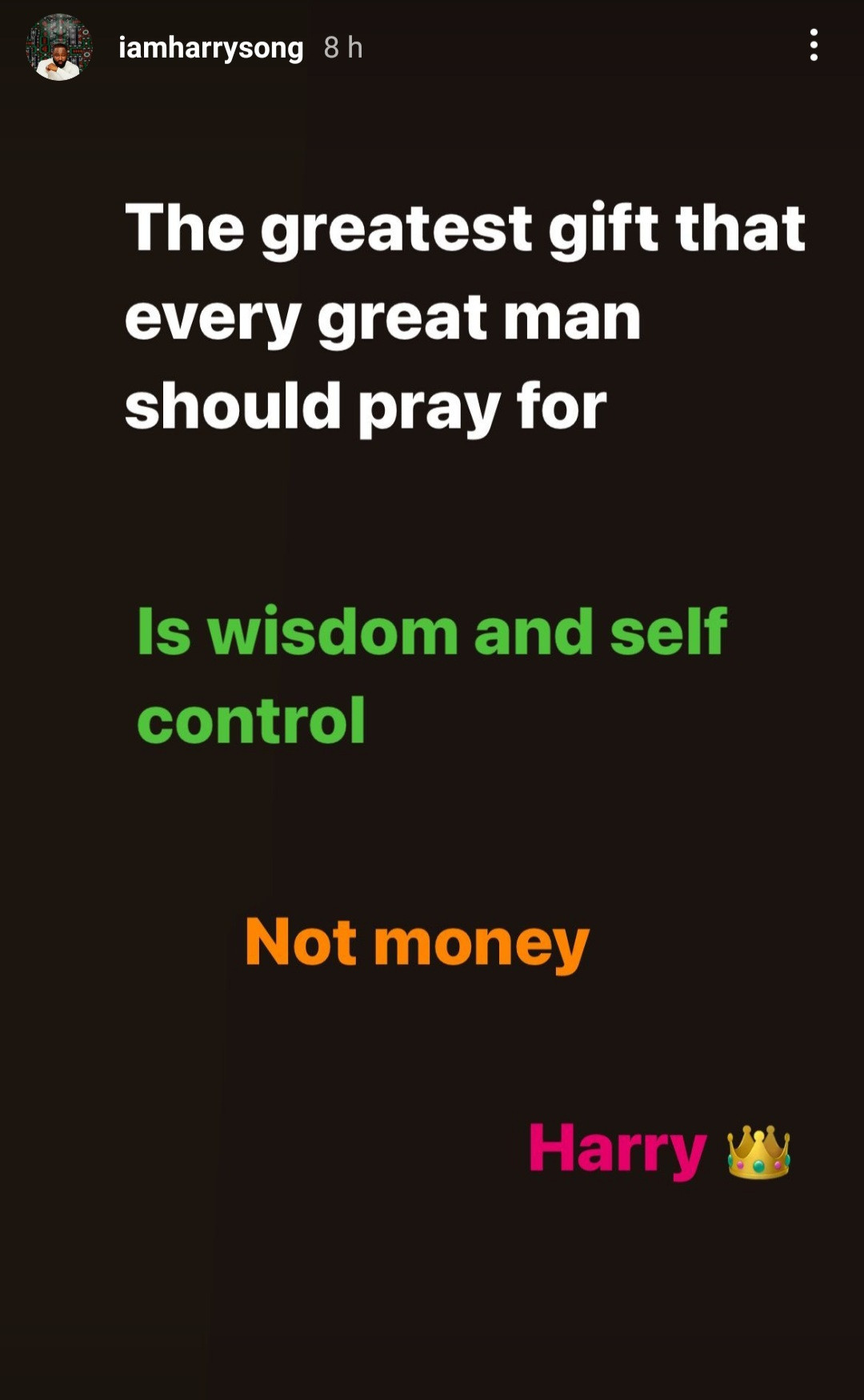 Great men pray for wisdom and self control, not money - Singer Harrysong says