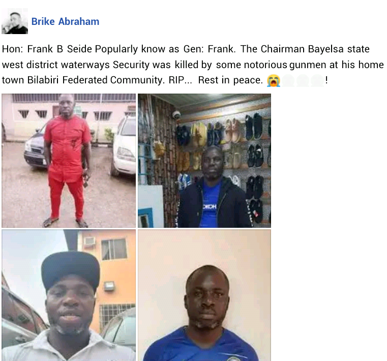 Gunmen kill chairman of Waterways Security in Bayelsa