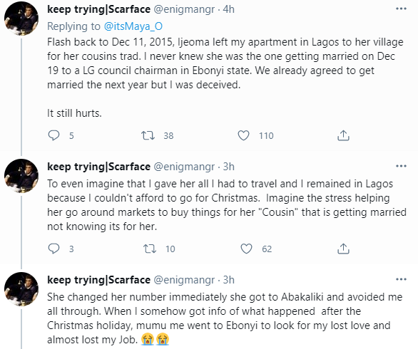 Nigerian lady recounts how she found out her ex-boyfriend was getting married to another lady on Easter Sunday