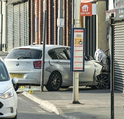 Two-week-old baby dies in front of his parents after BMW crashed into his pram