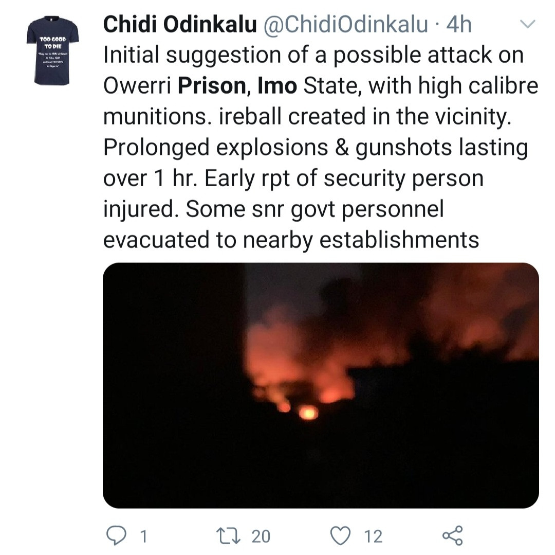Prisoners allegedly freed as gunmen attack Imo prison and set it ablaze (video)