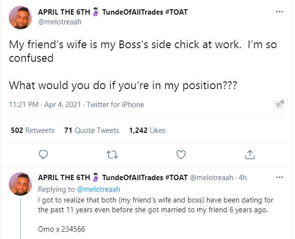 Twitter user seeks advice after discovering that his friend