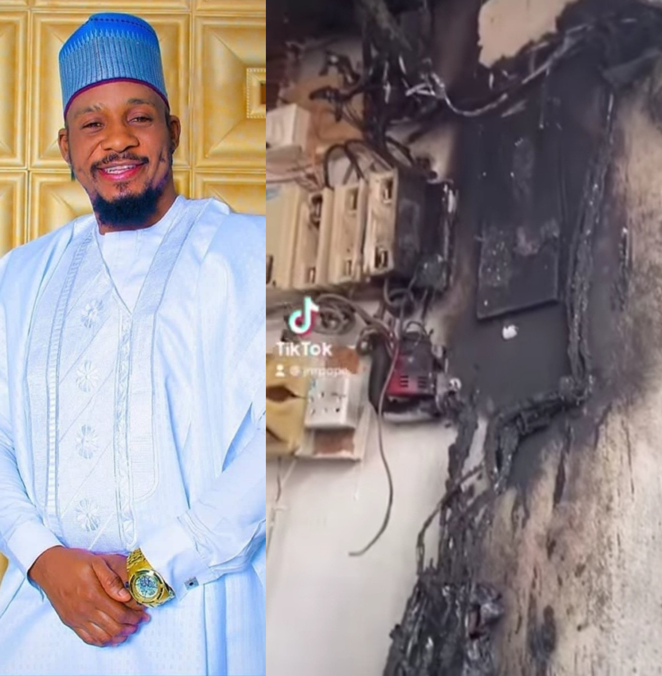 Actor?Junior Pope Odonwodo and his family escape death as fire breaks out at their home while they slept (video)