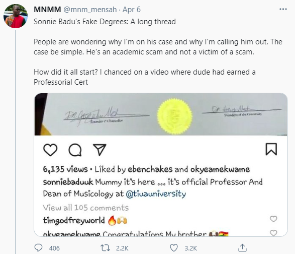 Gospel musician, Sonnie Badu, accused of being an ?academic scam