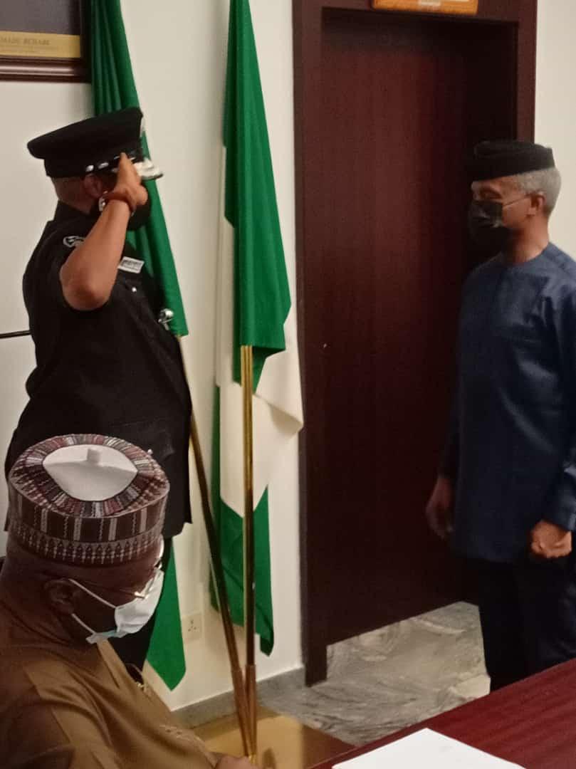 VP Yemi Osinbajo decorates Usman Alkali Baba as acting IGP (photos)