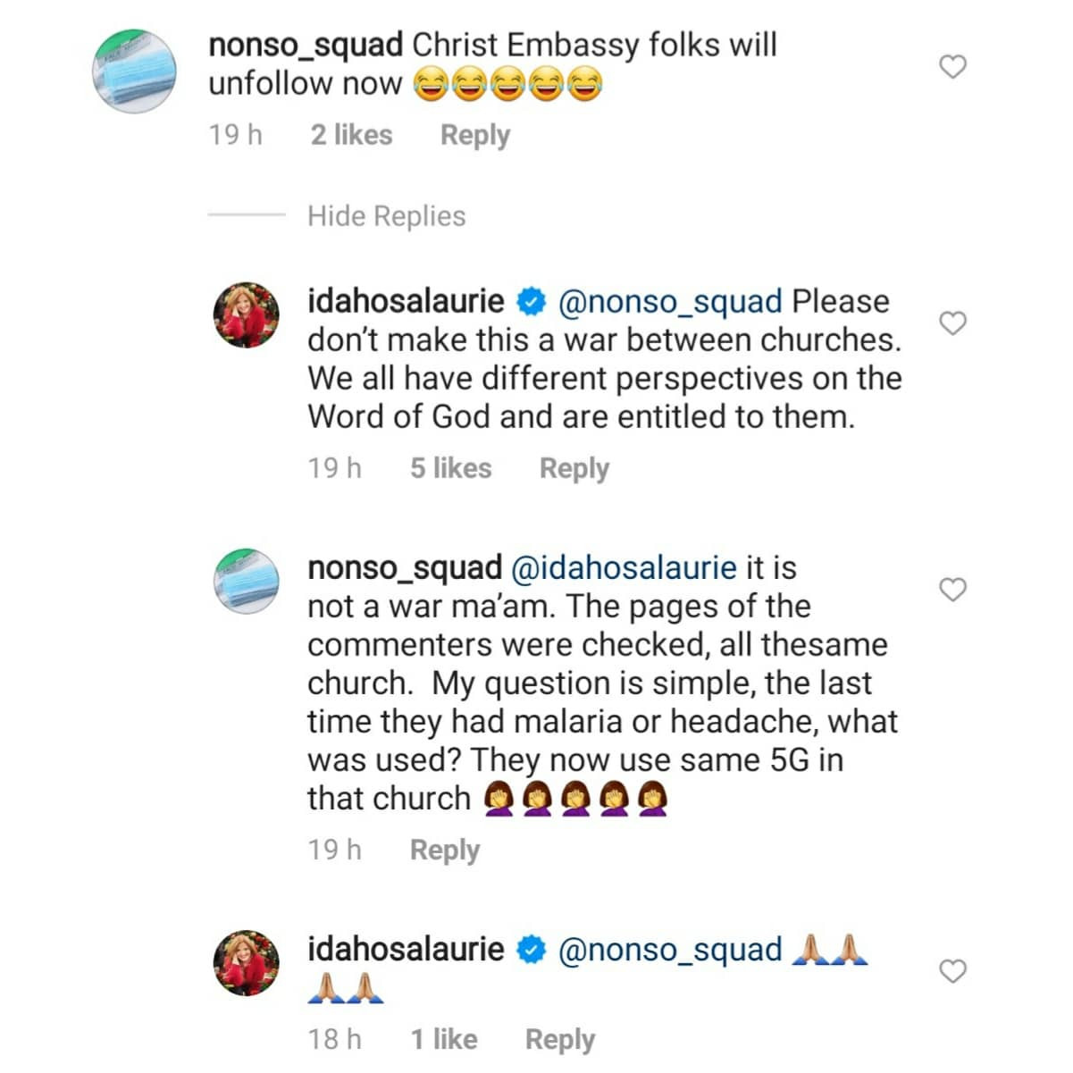 Clergywoman, Laurie Idahosa responds after some Christians tackled her and threatened to unfollow her on IG after she took the COVID19 vaccine