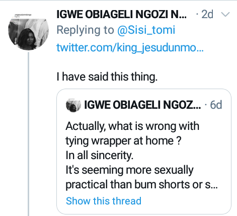 """""""Wrapper is one of the sexiest house outfits a woman can wear""""- Nigerians react as lady reveals what her husband did when she wore wrapper at home"""