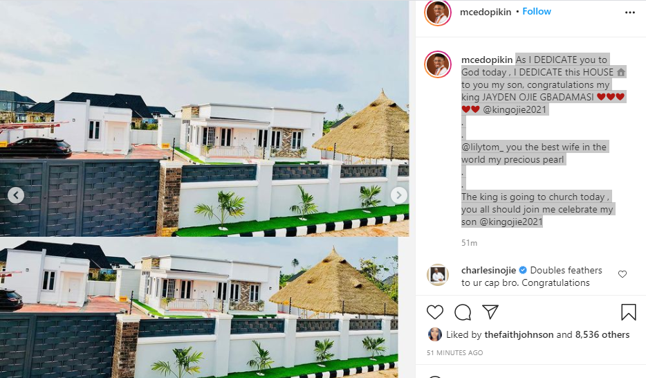 Comedian MC Edo Pikin shows off his new house, dedicates it to his son (video)