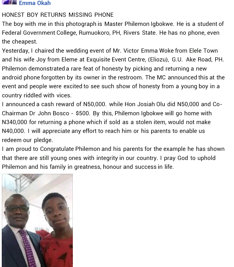 Honest secondary school student gets cash reward of N340,000 for returning lost phone to owner in Port Harcourt