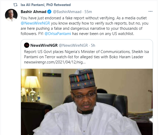 He has never been on any US watchlist - Presidential aide, Bashir Ahmad reacts to report of Minister of Communication Isa Pantami allegedly being added to terror watchlist
