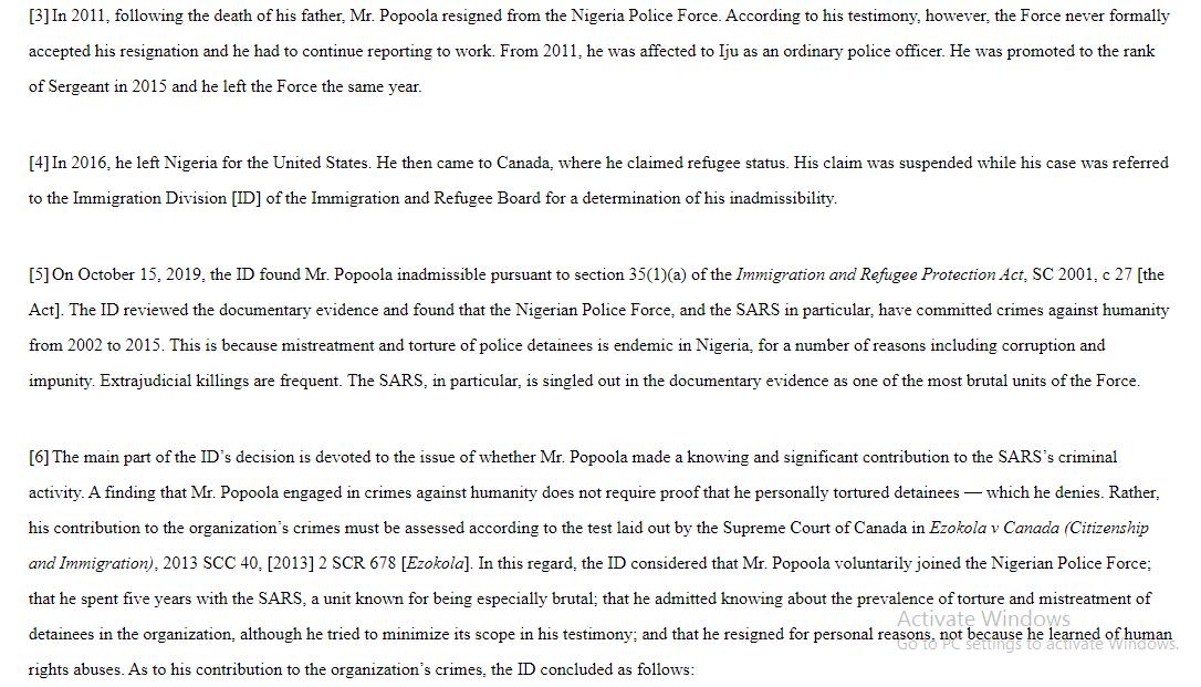 Former SARS officer denied asylum in Canada for