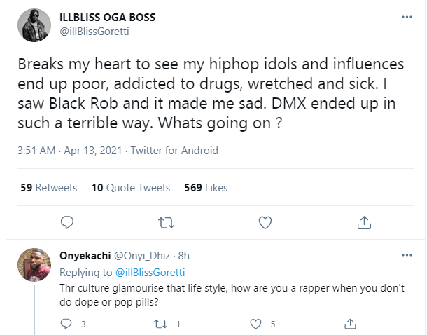 DMX: Breaks my heart to see my hiphop idols and influences end up poor, addicted to drugs, wretched and sick - Rapper Illbliss