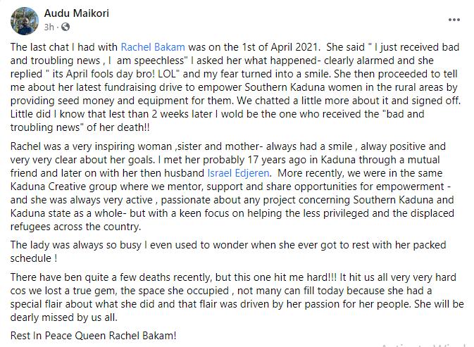 Actress and TV Presenter, Rachel Bakam is dead