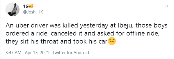 Uber driver allegedly killed by passengers who ordered a ride in Ibeju area of Lagos
