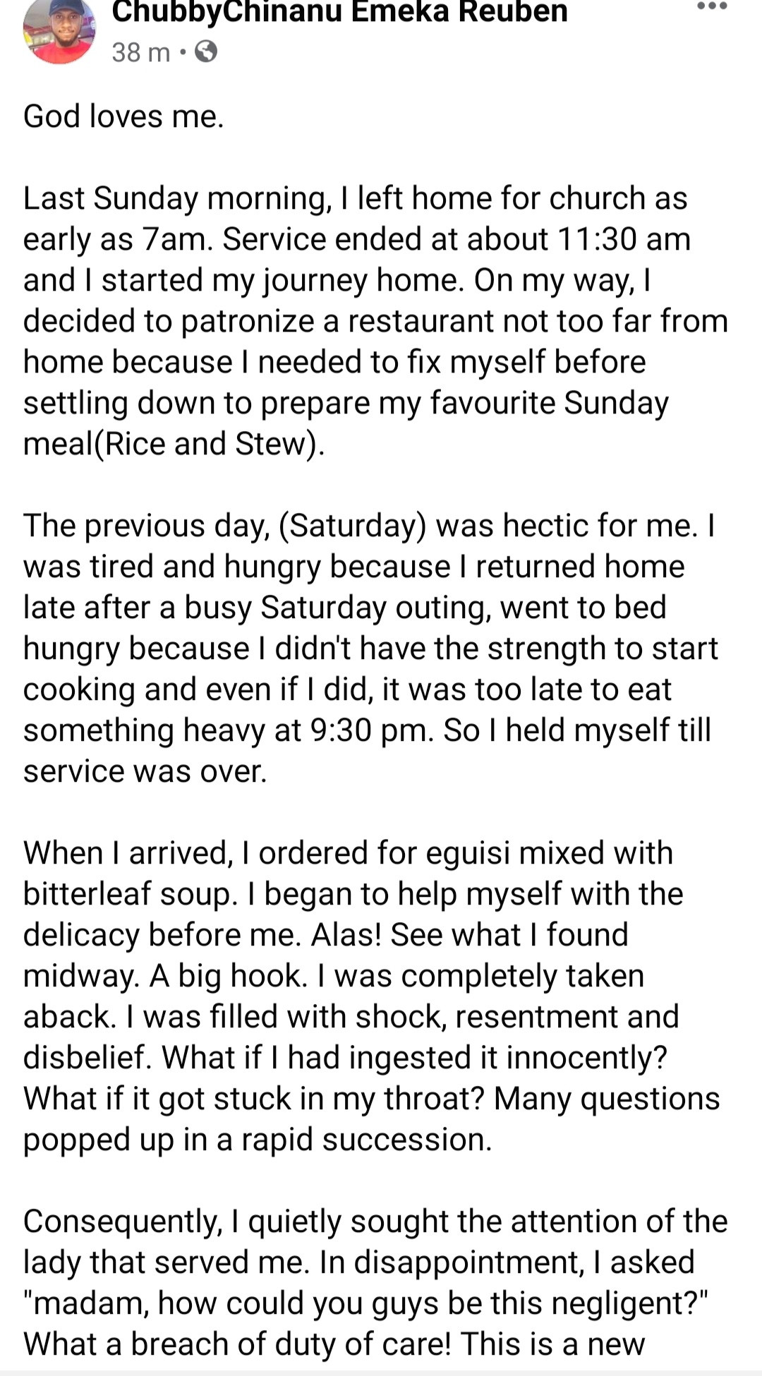 """Man shows the """"hook"""" he found in the soup he was served in a restaurant"""