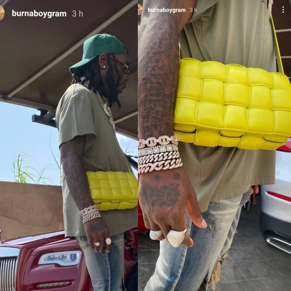 Burna Boy steps out rocking a Bottega Veneta bag (photos)