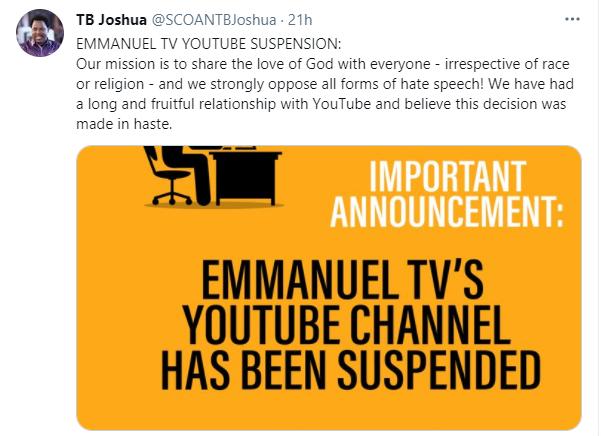 YouTube suspend la chaîne de TB Joshua, Facebook prend également des mesures