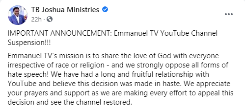 YouTube suspends TB Joshua?s channel, Facebook takes action too