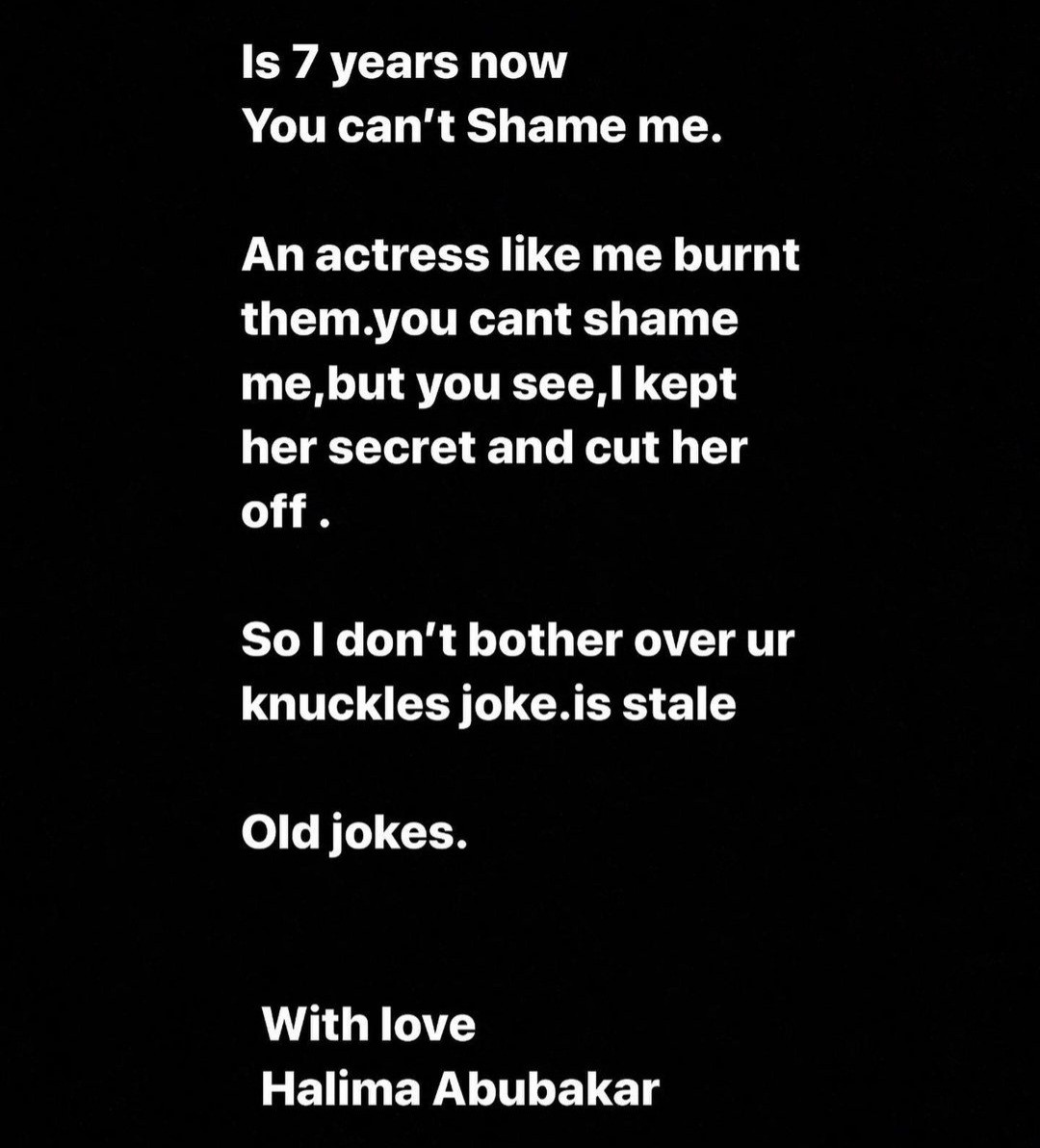 Halima Abubakar hits back at those making fun of her knuckles then threatens to expose her