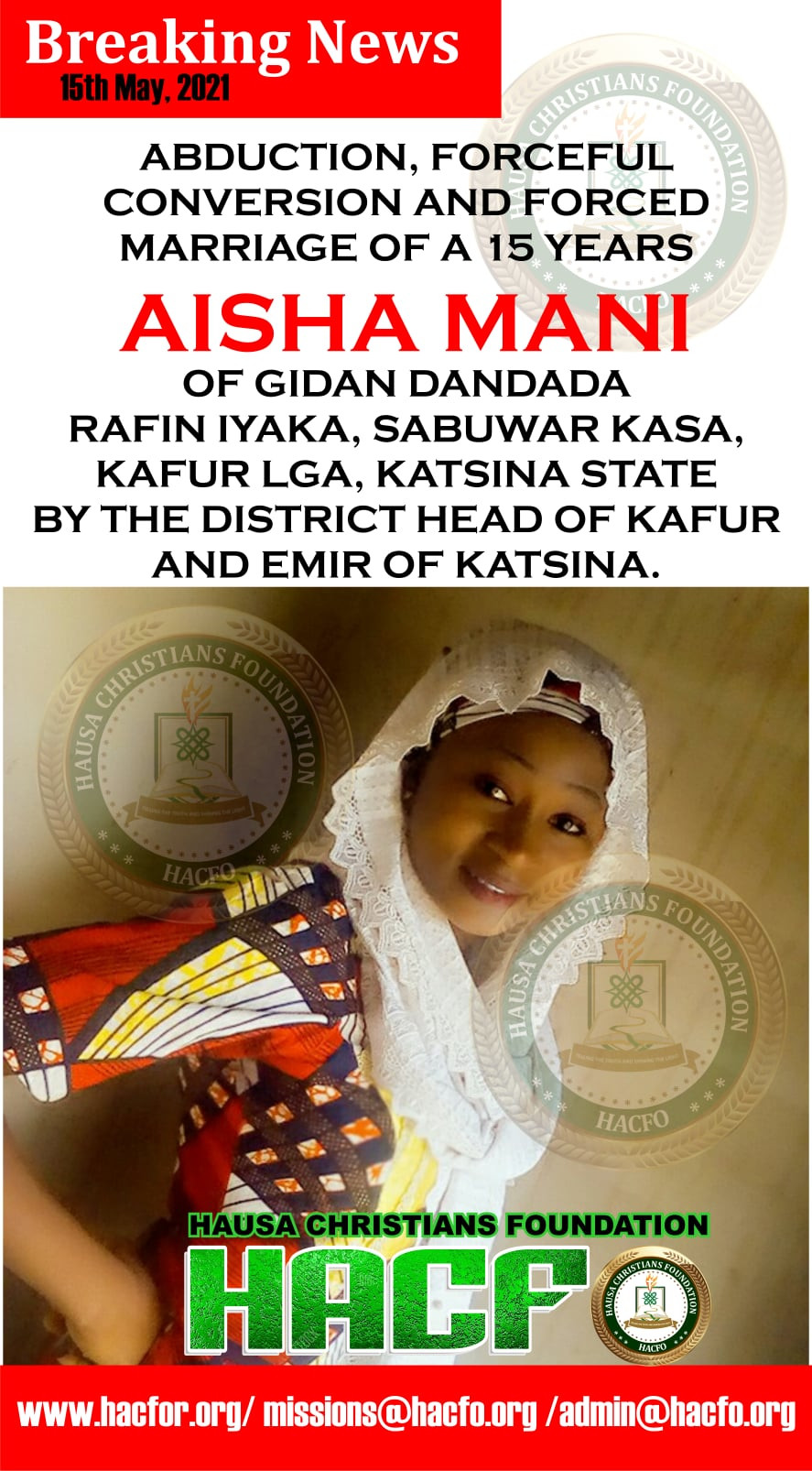 15-year-old Christian girl allegedly abducted, forcefully converted to Islam and married off to abductor in Katsina State